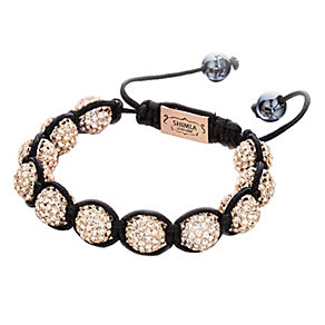 Shimla Gold Crystal Bead Black Rope Bracelet - Product number 1346067
