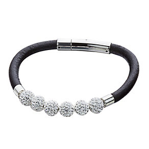 Shimla White Crystal Black Leather Bracelet - Product number 1346172