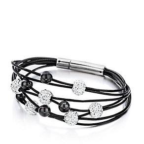 Shimla Multi-layered White Crystal & Black Bracelet - Product number 1346180