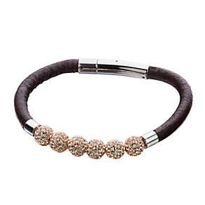 Shimla Rose Gold Crystal Black Leather Bracelet - Product number 1346202