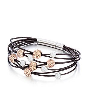 Shimla Multi-Layered Rose Gold Crystal & Pearl Bead Bracelet - Product number 1346210