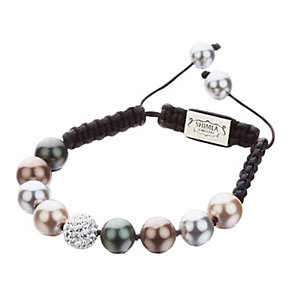 Shimla Multi-Pearl & Crystal Black Rope Bracelet - Product number 1346288