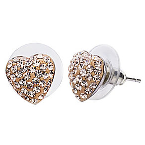 Shimla Rose Gold Crystal Heart Stud Earrings - Product number 1346334