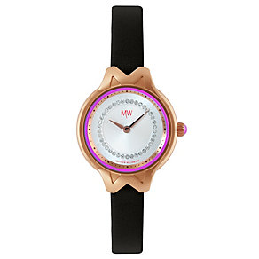 MW By Matthew Williamson Stone Set Black Leather Strap Watch - Product number 1347195