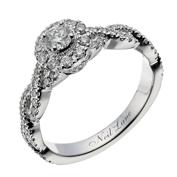 Neil Lane 14ct white gold 0.66ct diamond halo twist ring - Product number 1349724