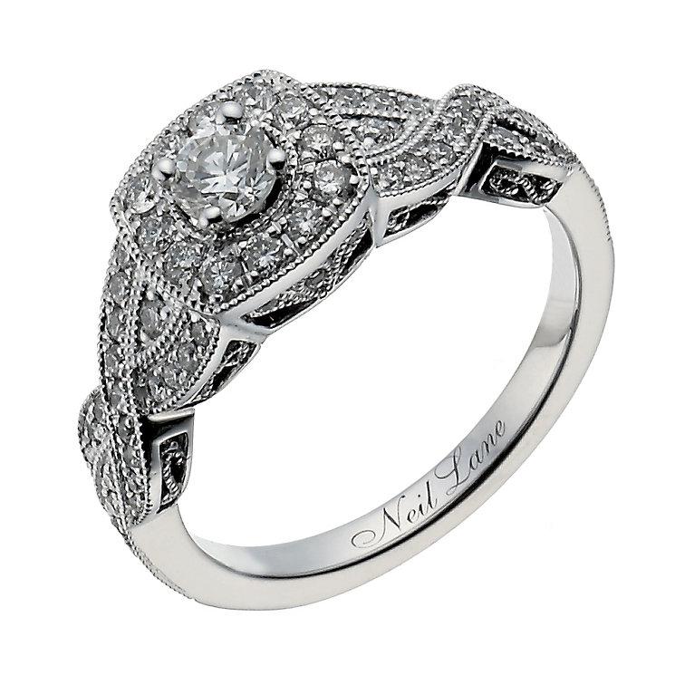 Neil Lane 14ct white gold 0.69ct diamond halo twist ring - Product number 1350250