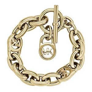 michael kors gold plated logo link chain bracelet. Black Bedroom Furniture Sets. Home Design Ideas