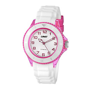 Limit Ladies' Pink & White Silicone Strap Watch - Product number 1352547