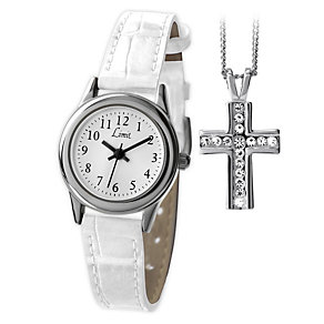 Limit Ladies' White Leather Strap Watch & Pendant - Product number 1352563