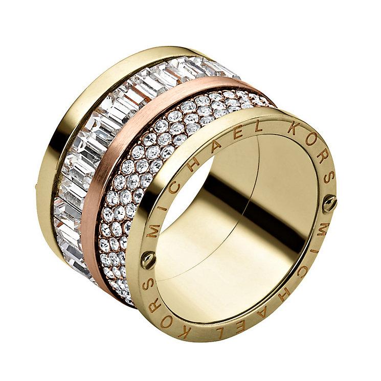 michael kors gold plated stone set ring size o ernest jones. Black Bedroom Furniture Sets. Home Design Ideas