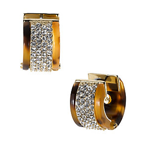 Michael Kors gold-plated tortoiseshell effect pave earrings - Product number 1353012