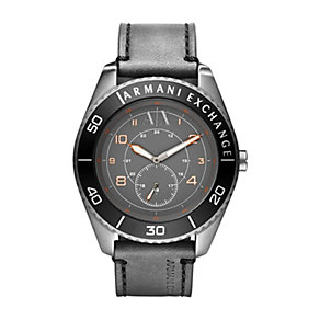 Armani Exchange Men's Steel Grey Leather Strap Watch - Product number 1353438