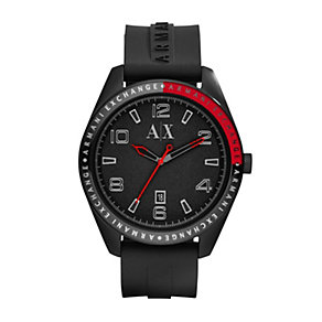 Armani Exchange Men's Ion-Plated Black Silicone Strap Watch - Product number 1353551