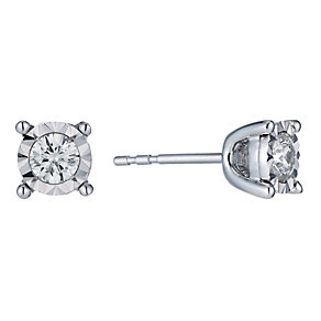 9ct white gold 30 point diamond illusion stud earrings - Product number 1353586
