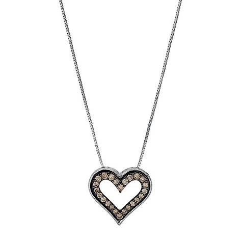 Shades of Wonder silver 49 point brown diamond heart pendant