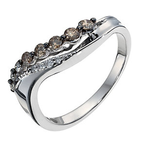 Shades of Wonder silver 29 point white & brown diamond ring - Product number 1353721