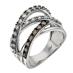 Shades of Wonder silver 0.75ct white & brown diamond ring - Product number 1354124