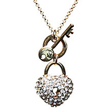 Mikey Yellow Crystal Heart Lock & Key Necklace - Product number 1354671