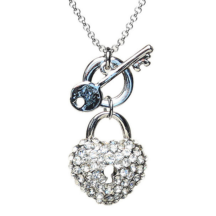 Mikey White Crystal Heart Lock & Key Necklace - Product number 1354698