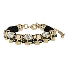 Mikey Yellow Crystal Skull Black Fabric Bracelet - Product number 1354965