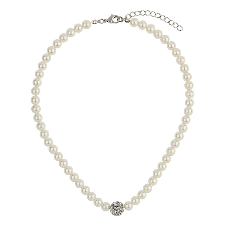 Mikey Imitation Pearl & Crystal Ball Necklace - Product number 1355139