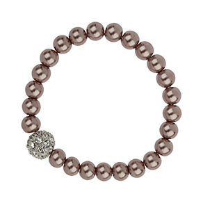 Mikey Taupe Imitation Pearl & Crystal Ball Bracelet - Product number 1356399