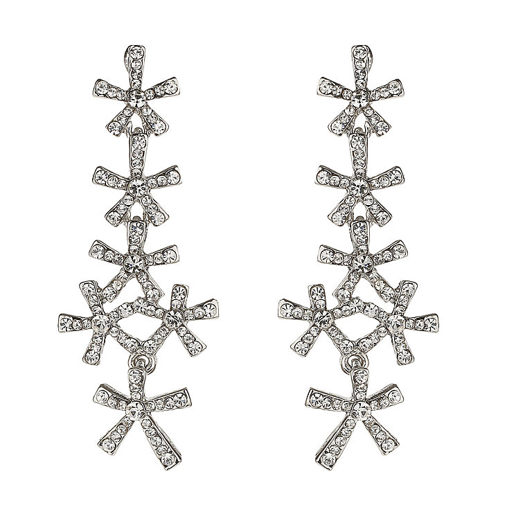Mikey White Crystal Flower Drop Earrings - Product number 1356453