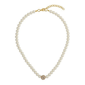 Mikey Gold Tone Imitation Pearl & Crystal Ball Necklace - Product number 1356682