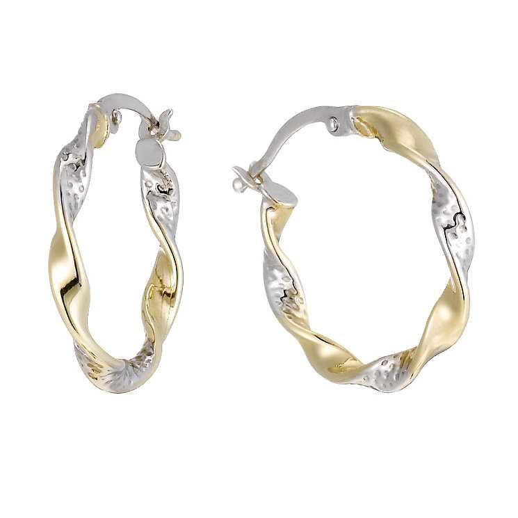 Together Bonded Silver & 9ct Gold Twisted Creole Earrings - Product number 1357506