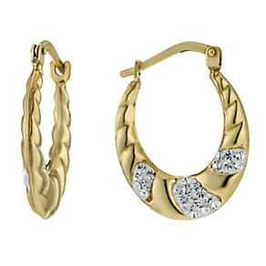 Together Bonded Silver & 9ct Gold Crystal Creole Earrings - Product number 1357514