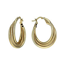 Together Bonded Silver & 9ct Gold 3 Tube Creole Earrings - Product number 1357522