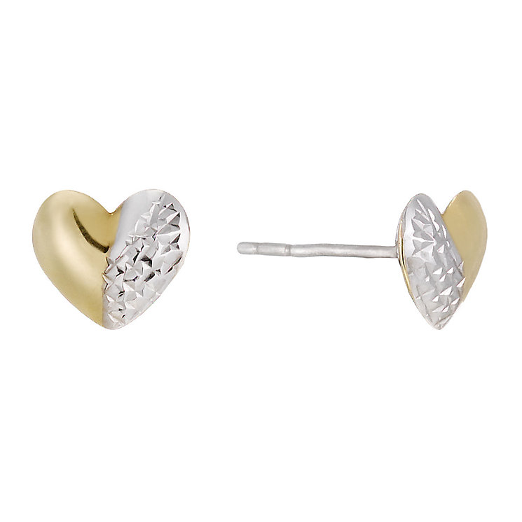 Together Bonded Silver & 9ct Gold Heart Stud Earrings - Product number 1357565