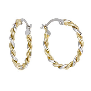 Together Bonded Silver & 9ct Gold Two Tone Creole Earrings - Product number 1357573