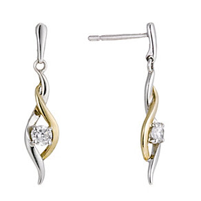 Sterling Silver & 9ct Gold Cubic Zirconia Drop Earrings - Product number 1357611