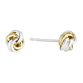 Sterling Silver & 9ct Gold Small Knot Stud Earrings - Product number 1357638