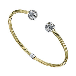Together Bonded Silver & 9ct Gold Crystal Torque Bangle - Product number 1357727