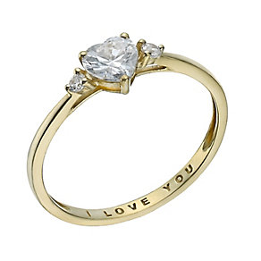9ct Gold Cubic Zirconia 'I Love You' Ring - Product number 1357751
