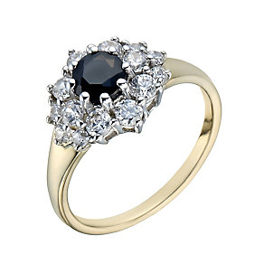 Silver & 9ct Gold Black Sapphire & Cubic Zirconia Ring - Product number 1357883