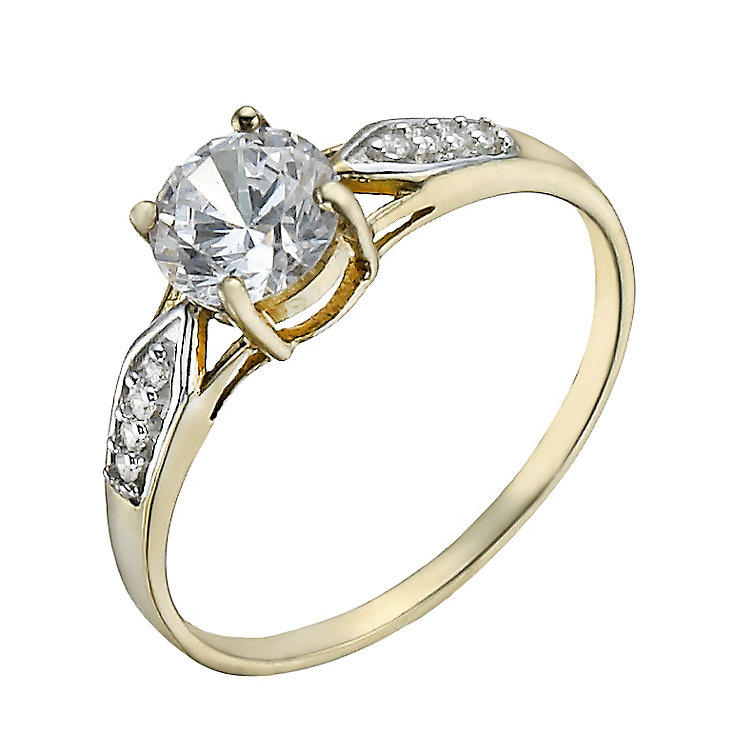 9ct Gold Cubic Zirconia Solitaire & Shoulder Set Ring - Product number 1358316