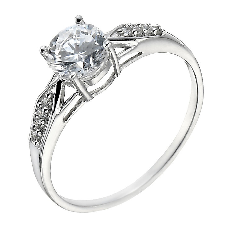 9ct White Gold Cubic Zirconia Solitaire & Shoulder Set Ring - Product number 1358529