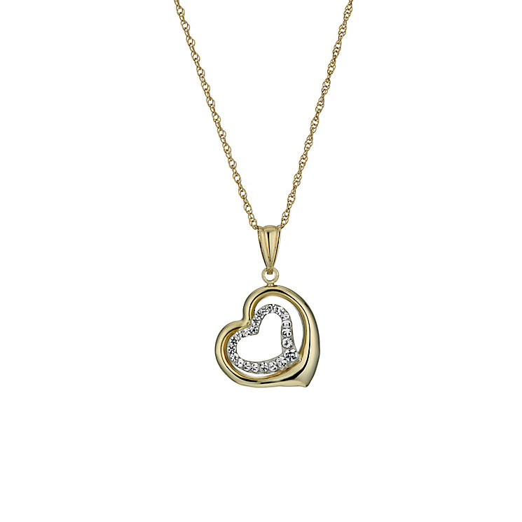 "Together Bonded Silver & 9ct Gold 18"" Double Heart Pendant - Product number 1359231"