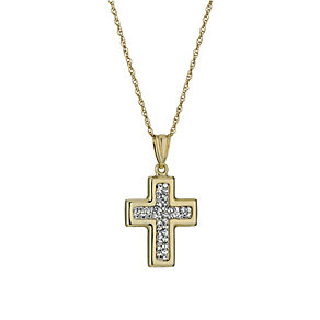 Together Bonded Silver & 9ct Gold Crystal Cross Pendant - Product number 1359258