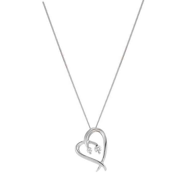 "9ct White Gold 18"" Double Cubic Zirconia Heart Pendant - Product number 1359282"