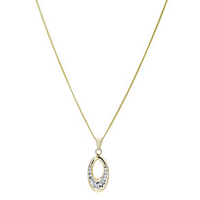 Evoke Silver & 9ct Gold-Plated Swarovski Elements Pendant - Product number 1359347