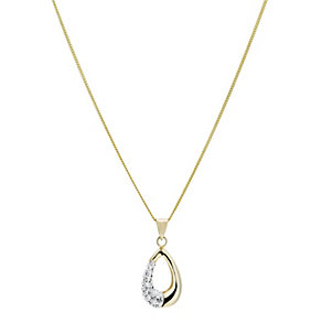 Evoke Silver & 9ct Gold-Plated Swarovski Elements Pendant - Product number 1359355