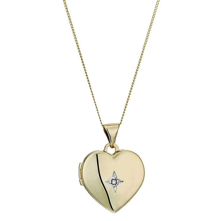 "9ct Gold 18"" Diamond Set Heart Locket - Product number 1359436"