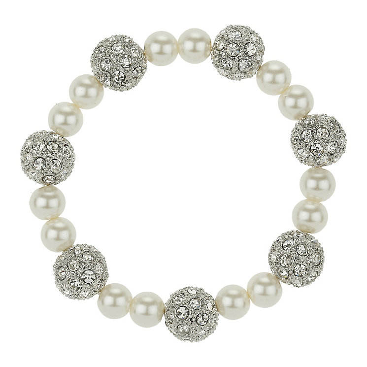Mikey White Imitation Pearl & Crystal Elastic Bracelet - Product number 1359827