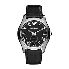 Emporio Armani Valente men's black leather strap watch - Product number 1360116