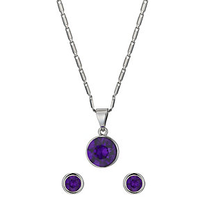 Radiance With Purple Swarovski Elements Earrings & Pendant - Product number 1360892