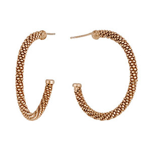 Rose Gold-Plated Popcorn Hoop Earrings - Product number 1361864